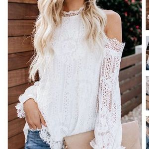 Brand New Cold Shoulder Lace Blouse